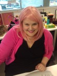 Rocking the Pink Wig in the office
